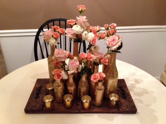 How ToDIY Gold Glitter Centerpiece Bottles Delightful Details